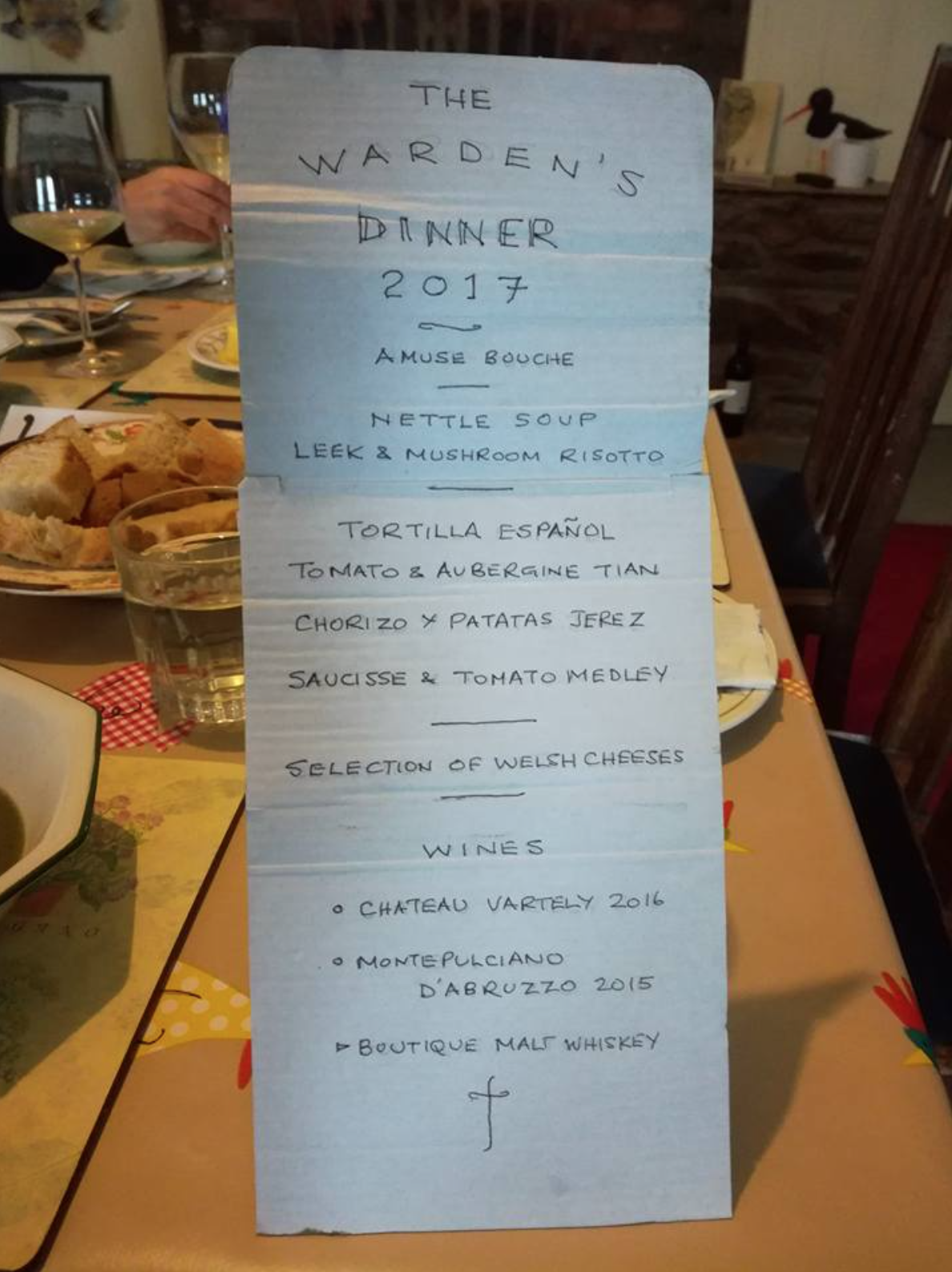 Ramsey Island dinner party menu